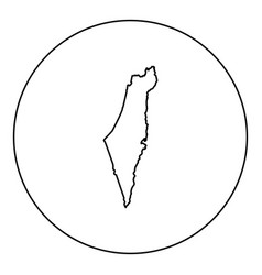 map of israel icon black color in round circle vector image
