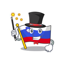 Mascot flag slovenia with in magician character vector
