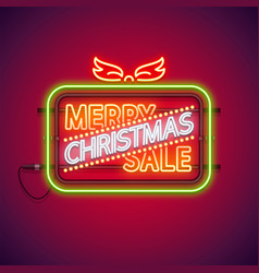 Merry christmas sale neon sign vector