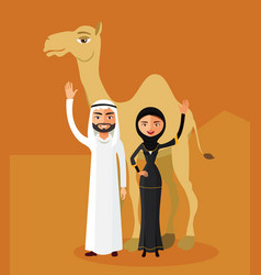 muslim family cartoon in desert dunes vector image