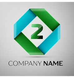 Number two logo symbol in the colorful rhombus vector