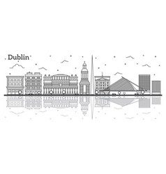 outline dublin ireland city skyline with historic vector image