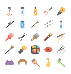 Pack of salon accessories flat icons vector