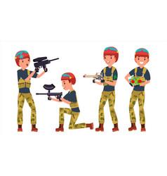 Paintball player battle team members vector