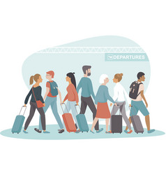 Passengers with luggage crowding in departures vector