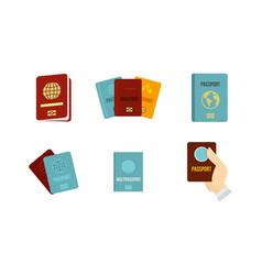 Passport icon set flat style vector