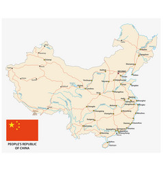 people s republic china road map with flag vector image