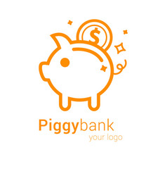 Piggy bank logo vector