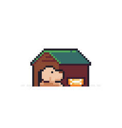 pixel art doghouse vector image