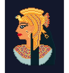 Pixel art of woman cleopatra vector