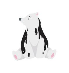 Polar bear in oil stains global environmental vector