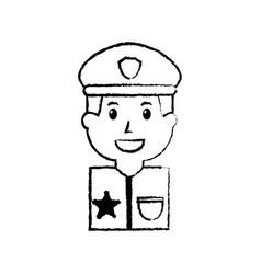 Portrait policeman smiling with hat uniform vector