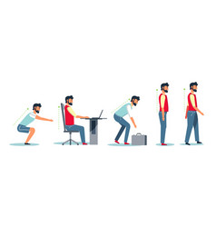 Posture and healthy spine correct sitting at desk vector