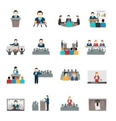 Public Speaking Icons Set vector image