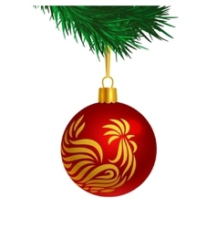 Red color Christmas tree ball with rooster logo vector