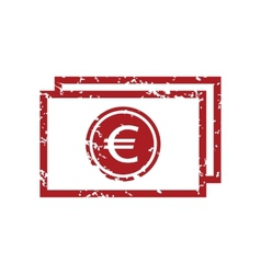 Red grunge euro buck logo vector image