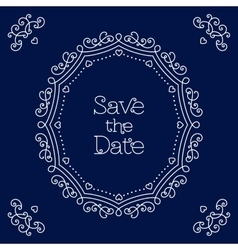 Save the date card line art wedding design vector