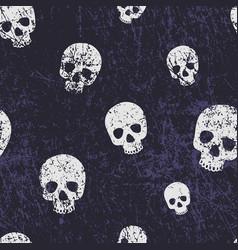 Seamless halloween pattern with skulls grunge vector
