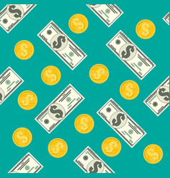 seamless pattern dollar banknotes golden coins vector image