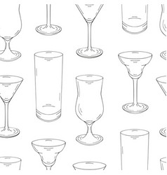 Seamless pattern made from glasses for cocktails vector
