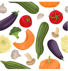 seamless pattern with autumn vegetables harvest vector image