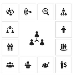 set of 13 editable team icons includes symbols vector image