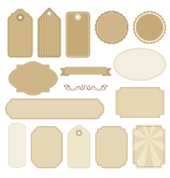 Set of blank vintage frames tags and labels vector