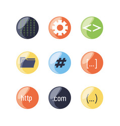 set of programming code icons vector image