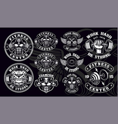 Set of vintage badges logos shirt designs for gym vector