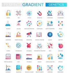 set trendy flat gradient genetics and vector image