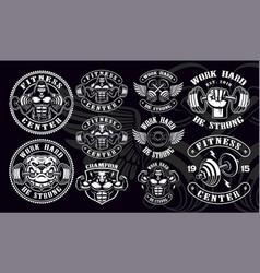 Set vintage badges logos shirt designs for gym vector