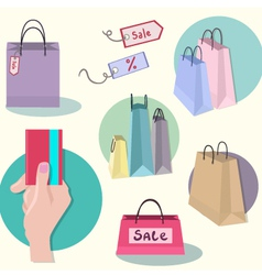 Shopping icons sale tag paper bags vector image
