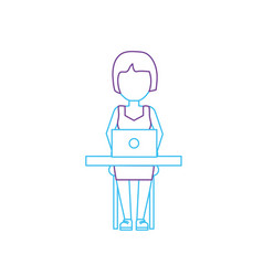 silhouette profesional businesswoman with laptop vector image