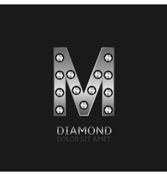 Silver M letter vector image