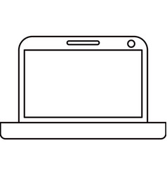 Sketch silhouette modern laptop tech vector