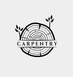 Slice wood carpentry logo design vector
