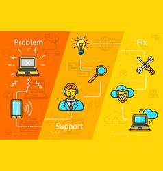 support cloud computing problem solving etc vector image