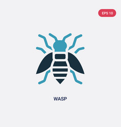 Two color wasp icon from animals concept isolated vector