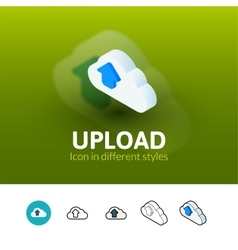 Upload icon in different style vector image