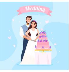 Wedding cake couple image vector