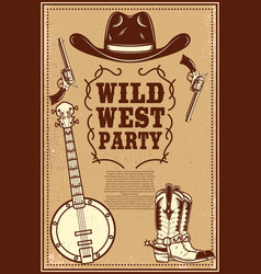 Wild west party poster template cowboy boots hat vector