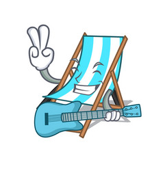 With guitar beach chair mascot cartoon vector