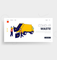 workers throw garbage landing page template vector image