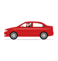 cartoon girl sitting in a car behind wheel vector image
