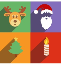 Christmas and New Year icons isolated Set of vector image