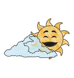 drawing cute smiling cartoon sun and cloud vector image vector image