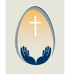 Easter egga cross and hands vector