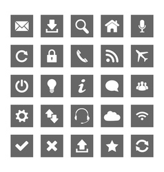 Grey square web icons vector image vector image