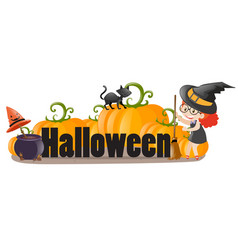 halloween sign with witch and cat vector image vector image