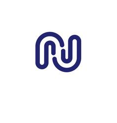 letter rj letter n logo design vector image vector image